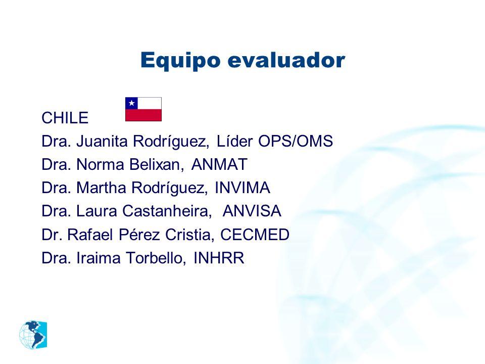 Equipo evaluador CHILE Dra. Juanita Rodríguez, Líder OPS/OMS