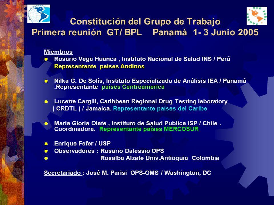 Constitución del Grupo de Trabajo Primera reunión GT/ BPL Panamá 1- 3 Junio 2005