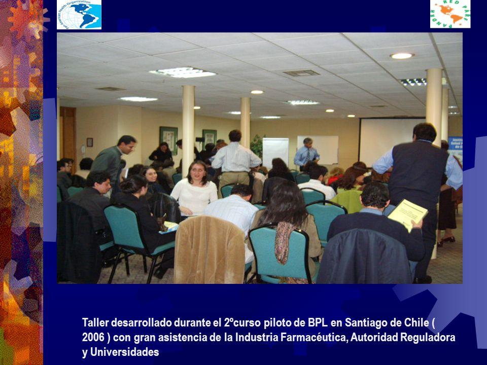 Taller desarrollado durante el 2ºcurso piloto de BPL en Santiago de Chile ( 2006 ) con gran asistencia de la Industria Farmacéutica, Autoridad Reguladora y Universidades