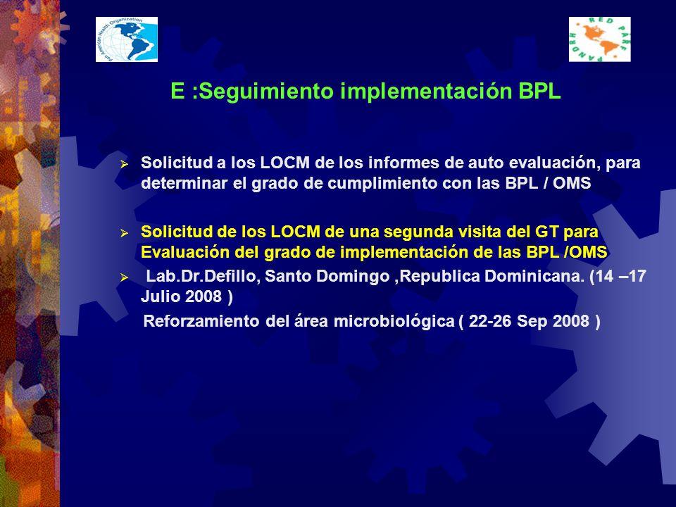 E :Seguimiento implementación BPL