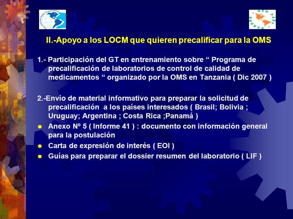 II.-Apoyo a los LOCM que quieren precalificar para la OMS