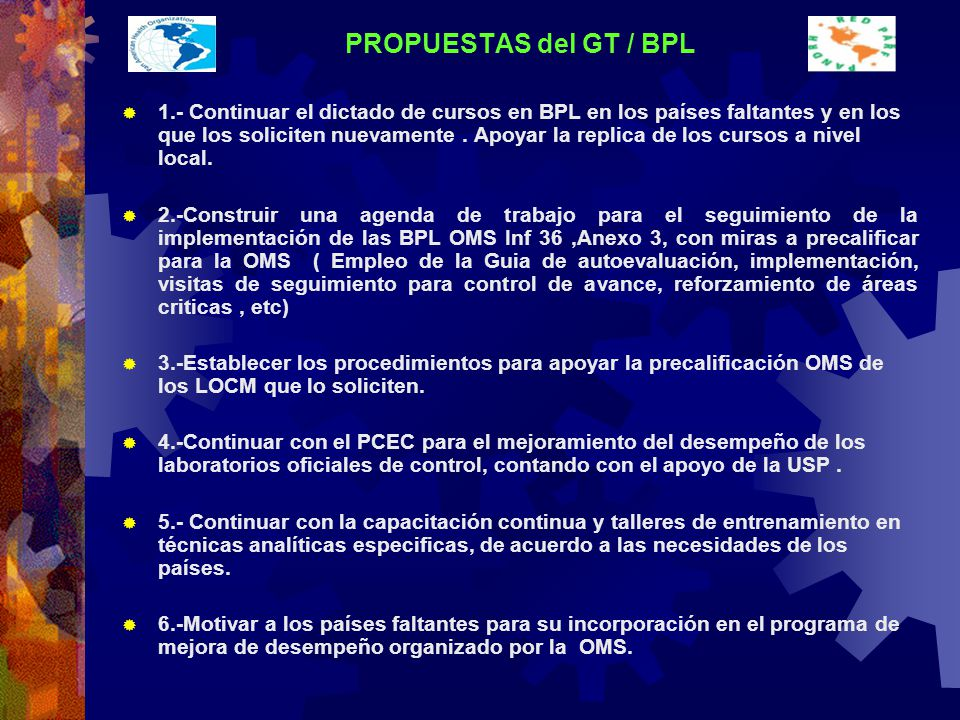 PROPUESTAS del GT / BPL