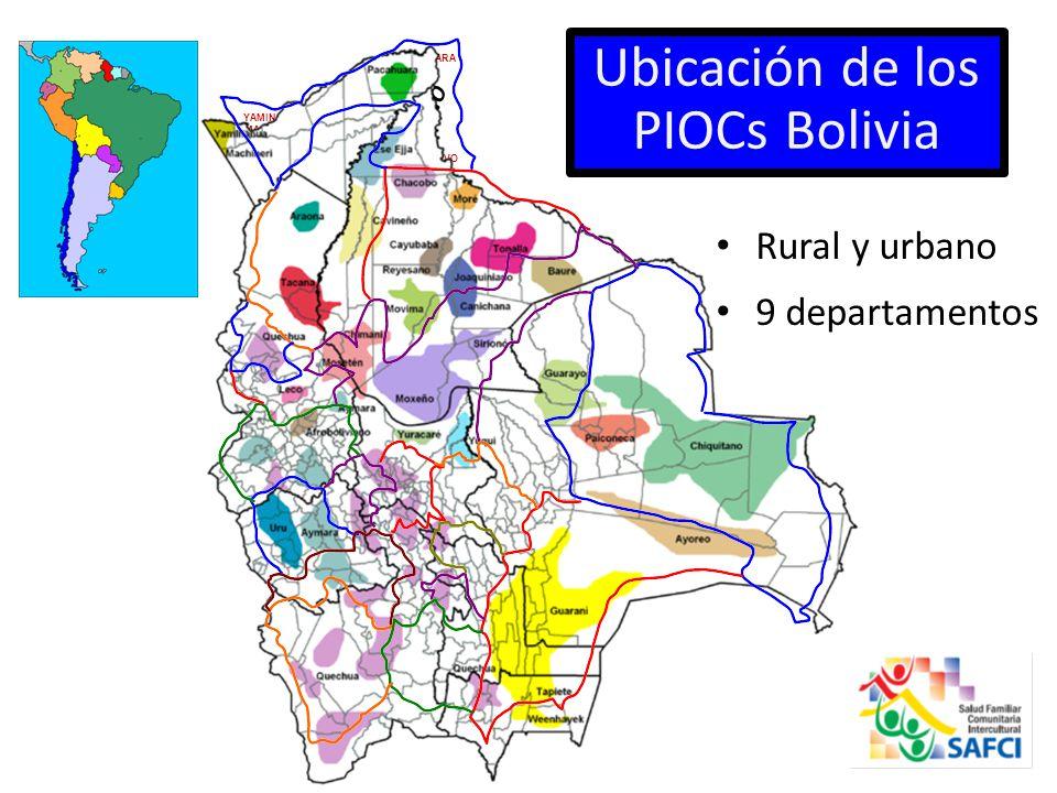 Ubicación de los PIOCs Bolivia