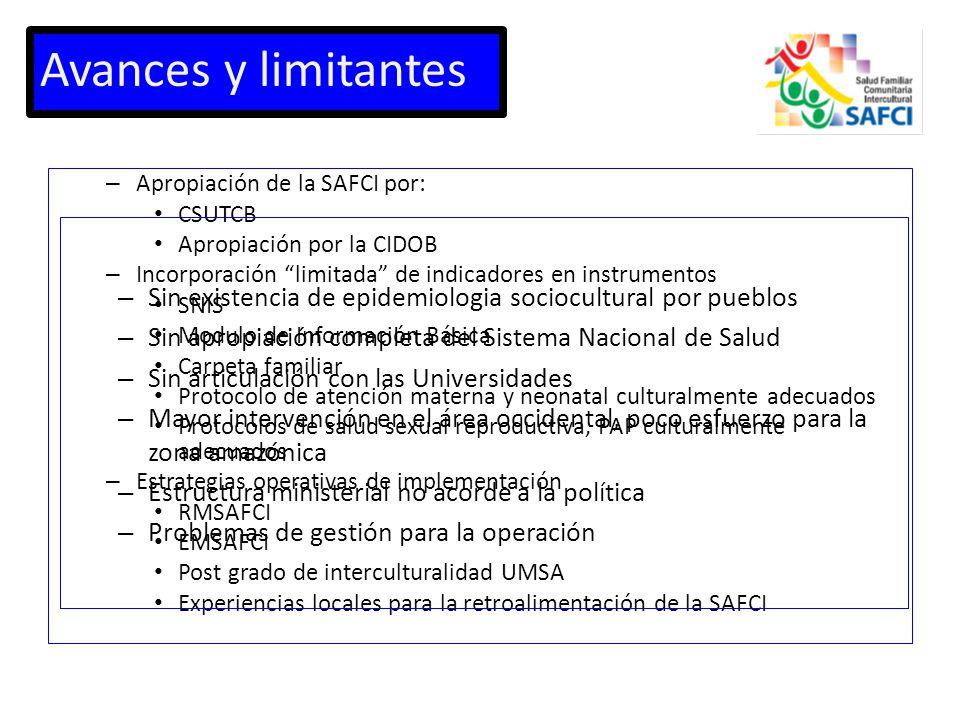 Avances y limitantes Apropiación de la SAFCI por: CSUTCB. Apropiación por la CIDOB. Incorporación limitada de indicadores en instrumentos.