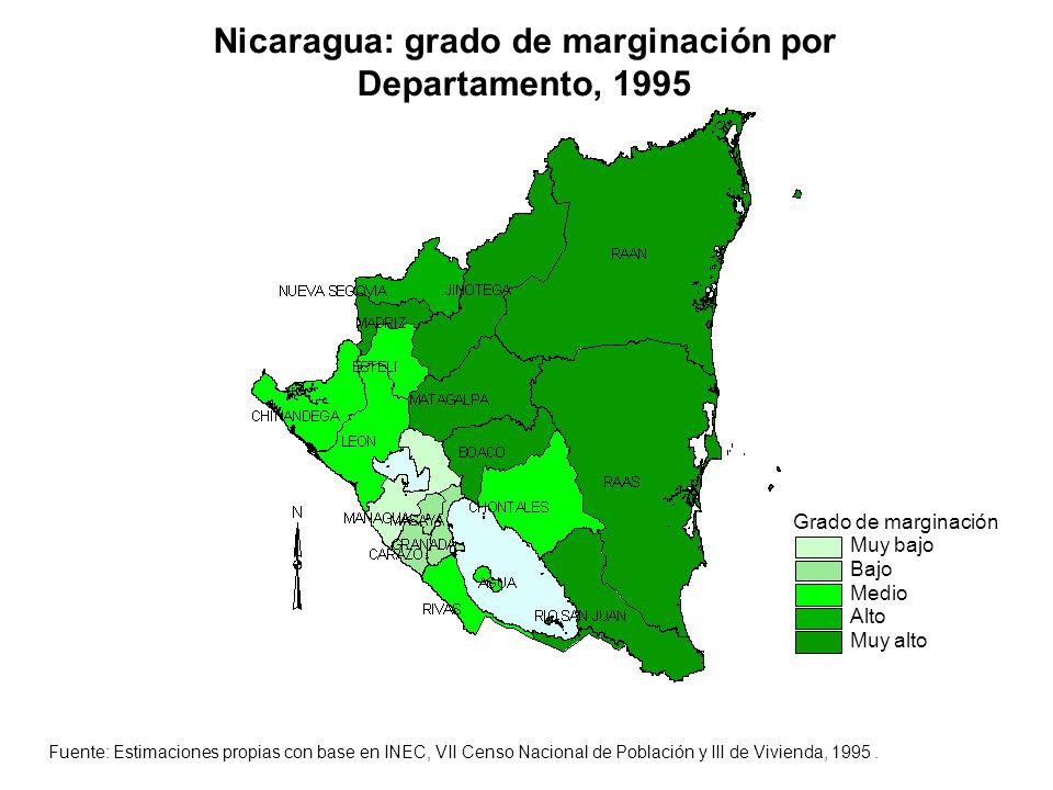Nicaragua: grado de marginación por Departamento, 1995