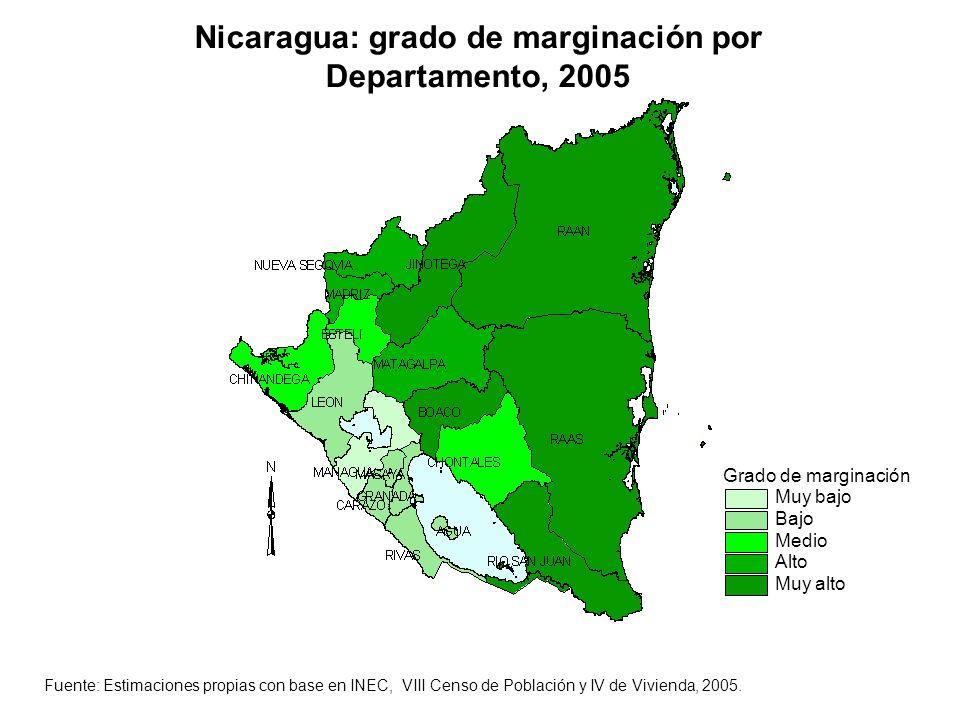 Nicaragua: grado de marginación por Departamento, 2005