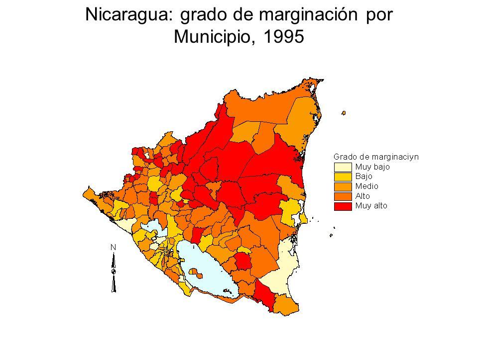 Nicaragua: grado de marginación por Municipio, 1995