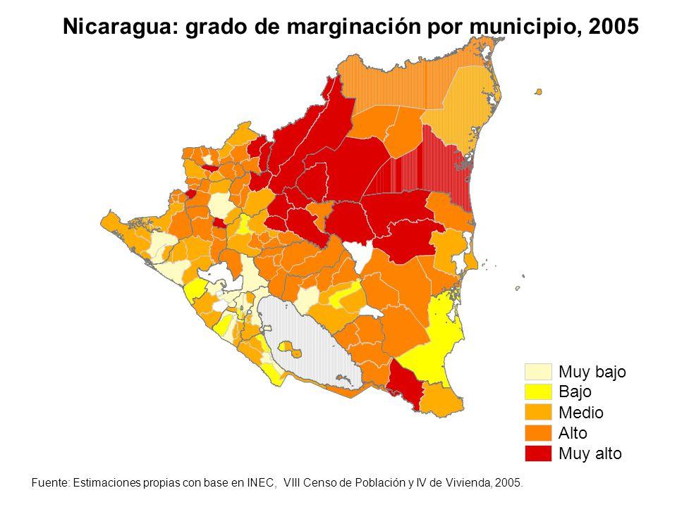 Nicaragua: grado de marginación por municipio, 2005
