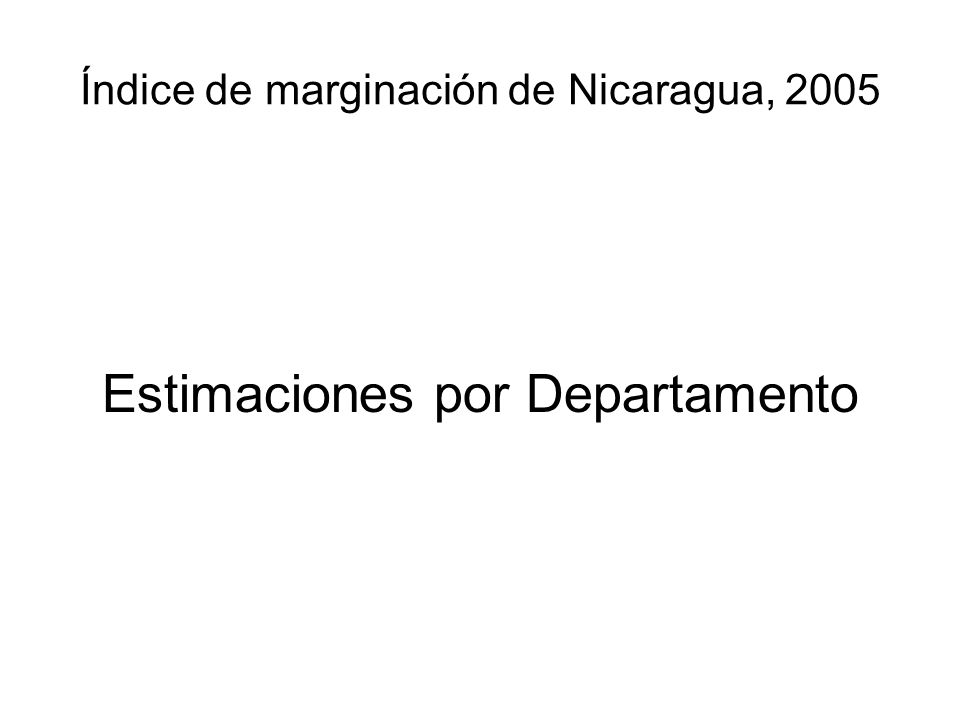 Índice de marginación de Nicaragua, 2005