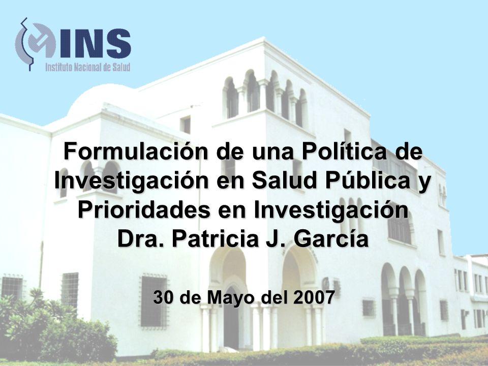 Formulación de una Política de Investigación en Salud Pública y Prioridades en Investigación