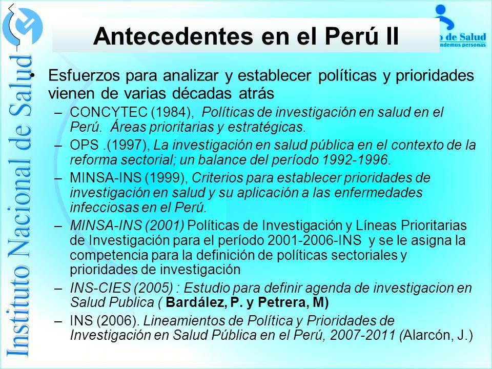Antecedentes en el Perú II