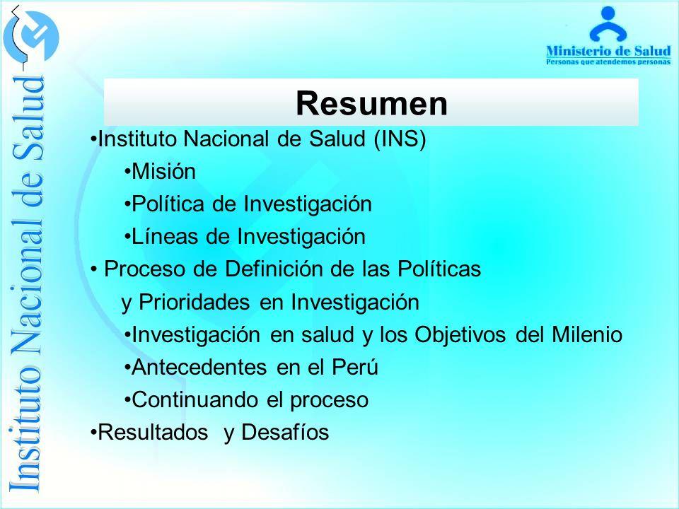 Resumen Instituto Nacional de Salud (INS) Misión
