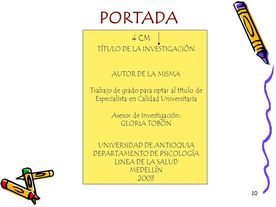 PORTADA 4 CM TÍTULO DE LA INVESTIGACIÓN AUTOR DE LA MISMA