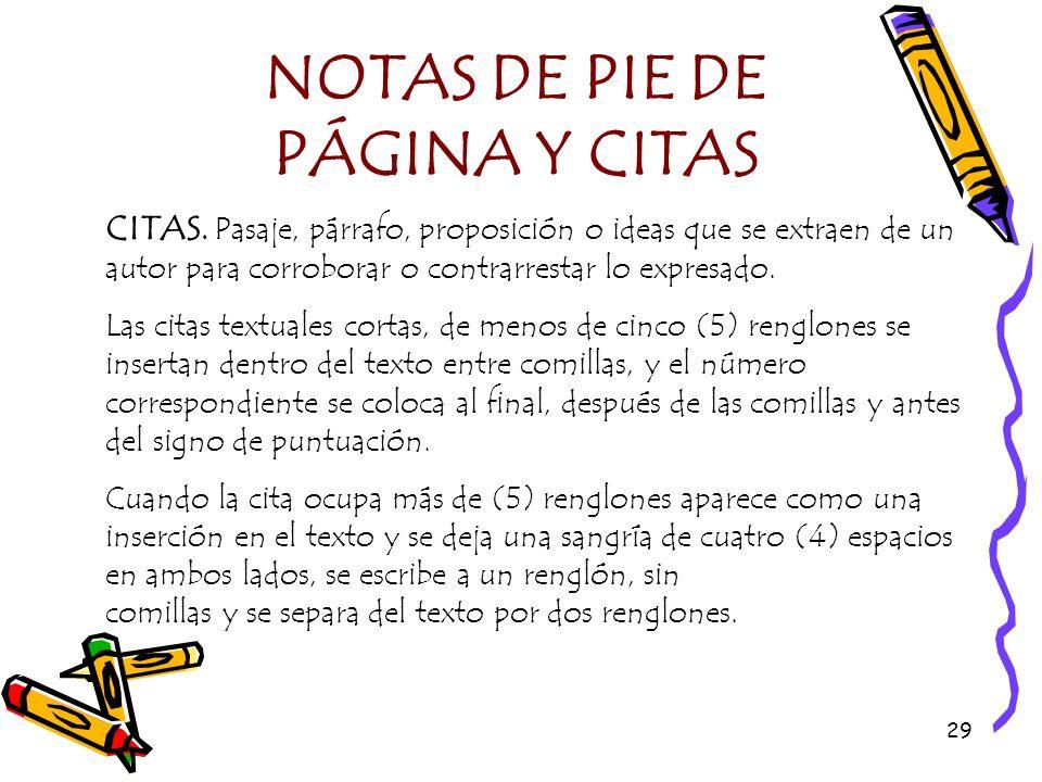NOTAS DE PIE DE PÁGINA Y CITAS