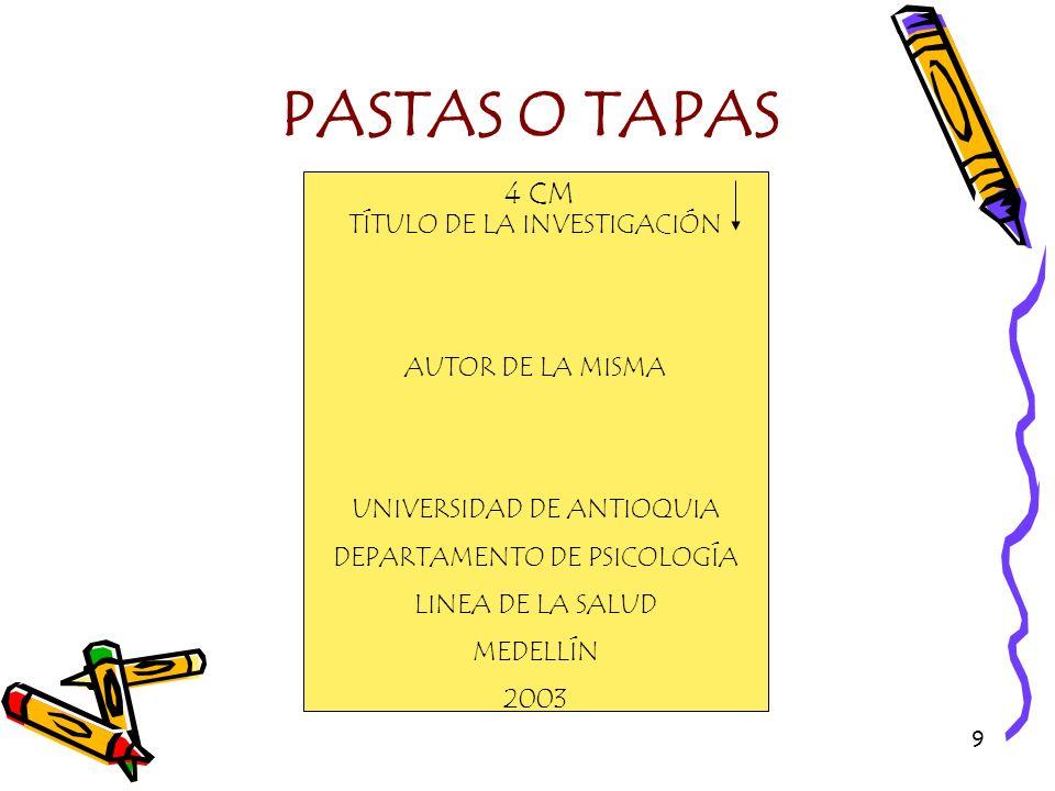 PASTAS O TAPAS 4 CM TÍTULO DE LA INVESTIGACIÓN AUTOR DE LA MISMA