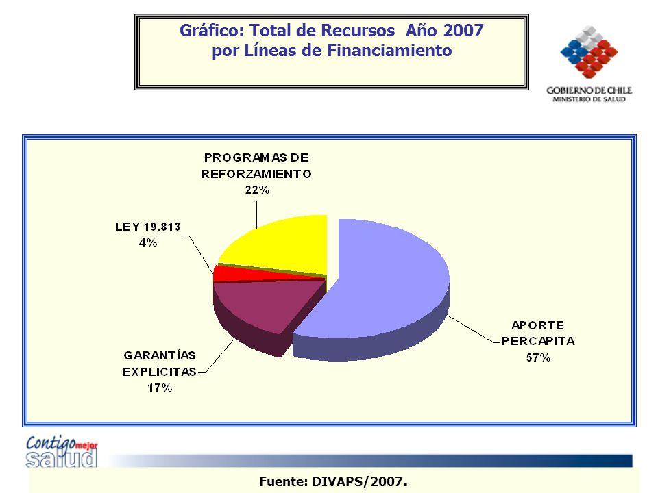 Gráfico: Total de Recursos Año 2007 por Líneas de Financiamiento