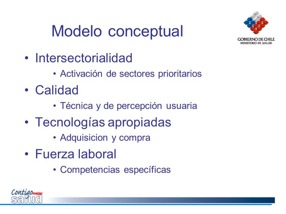 Modelo conceptual Intersectorialidad Calidad Tecnologías apropiadas