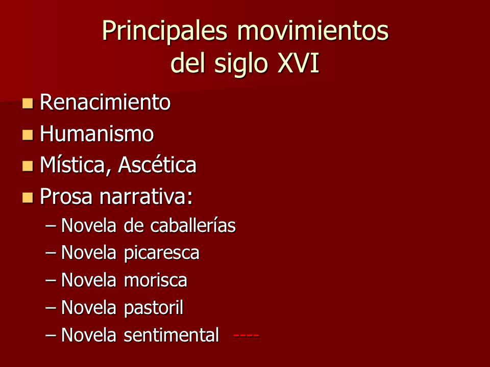 Principales movimientos del siglo XVI
