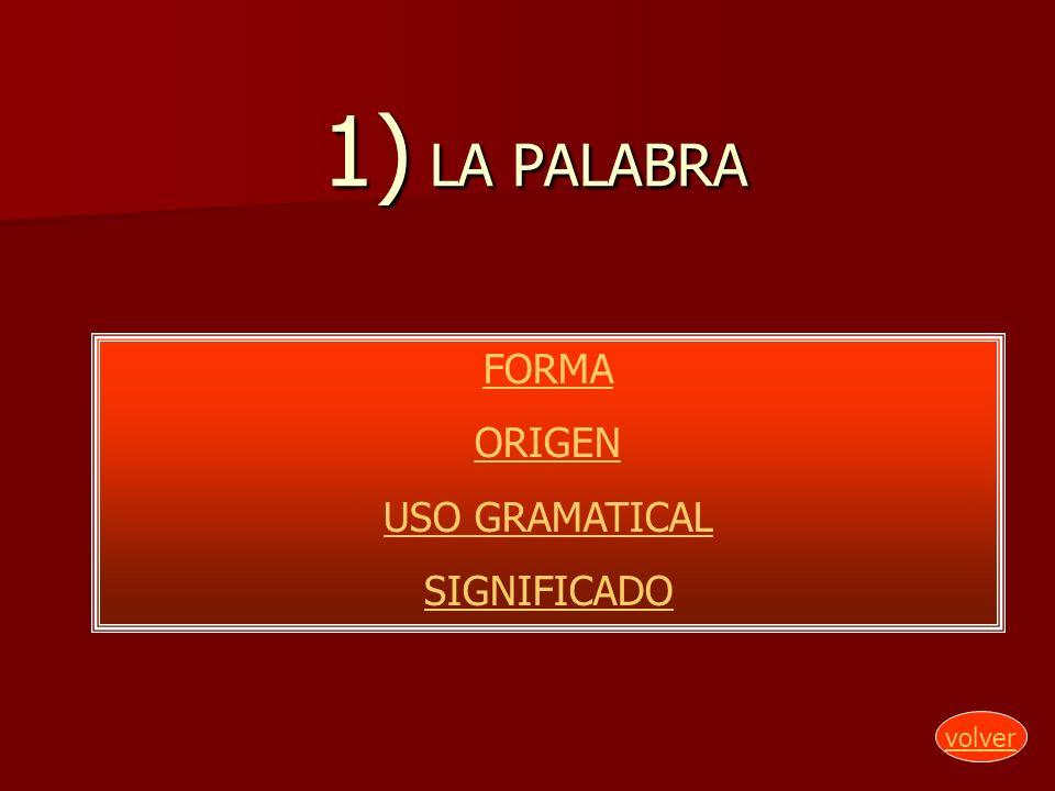 1) LA PALABRA FORMA ORIGEN USO GRAMATICAL SIGNIFICADO volver