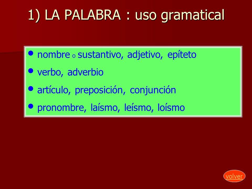 1) LA PALABRA : uso gramatical