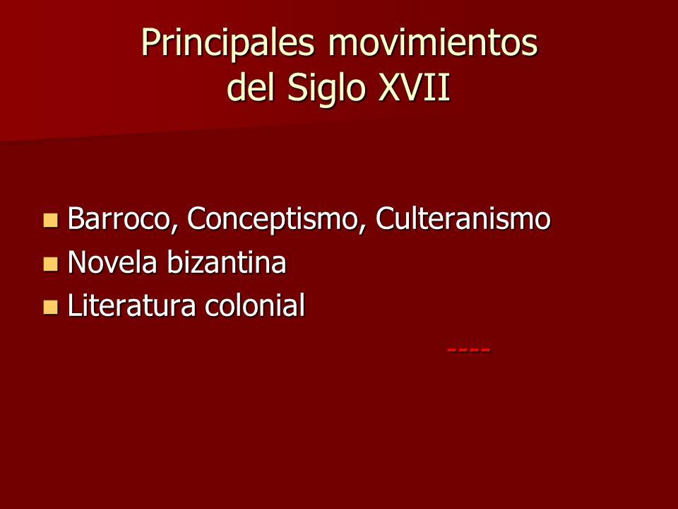 Principales movimientos del Siglo XVII