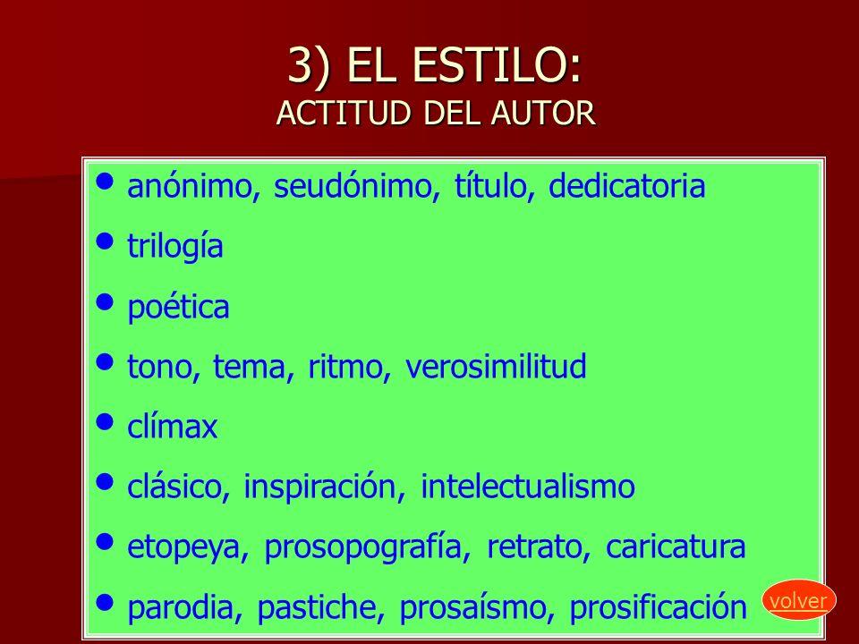 3) EL ESTILO: ACTITUD DEL AUTOR