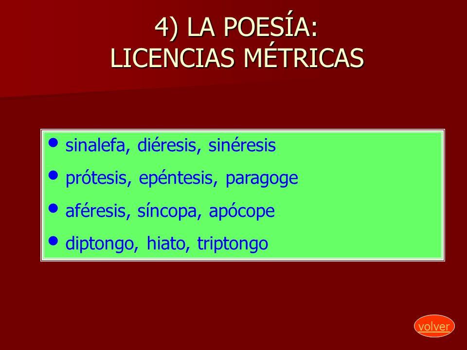 4) LA POESÍA: LICENCIAS MÉTRICAS