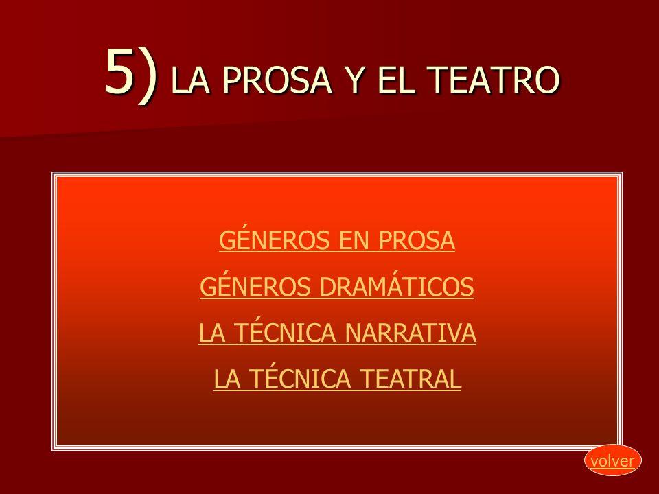 5) LA PROSA Y EL TEATRO GÉNEROS EN PROSA GÉNEROS DRAMÁTICOS