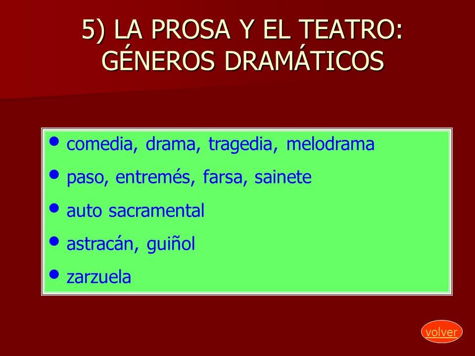 5) LA PROSA Y EL TEATRO: GÉNEROS DRAMÁTICOS