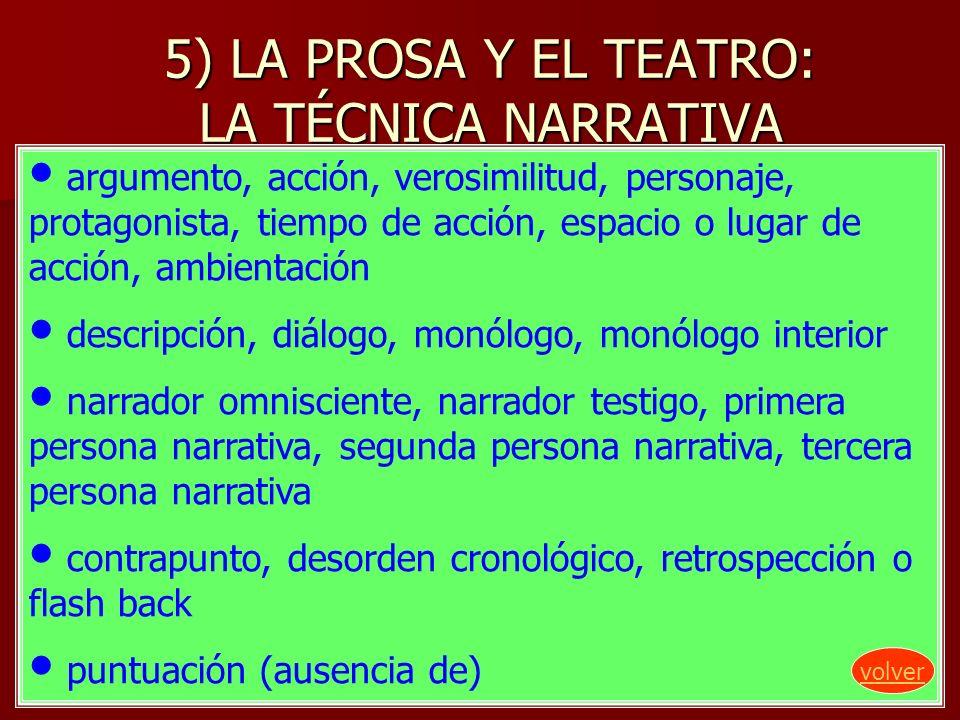 5) LA PROSA Y EL TEATRO: LA TÉCNICA NARRATIVA