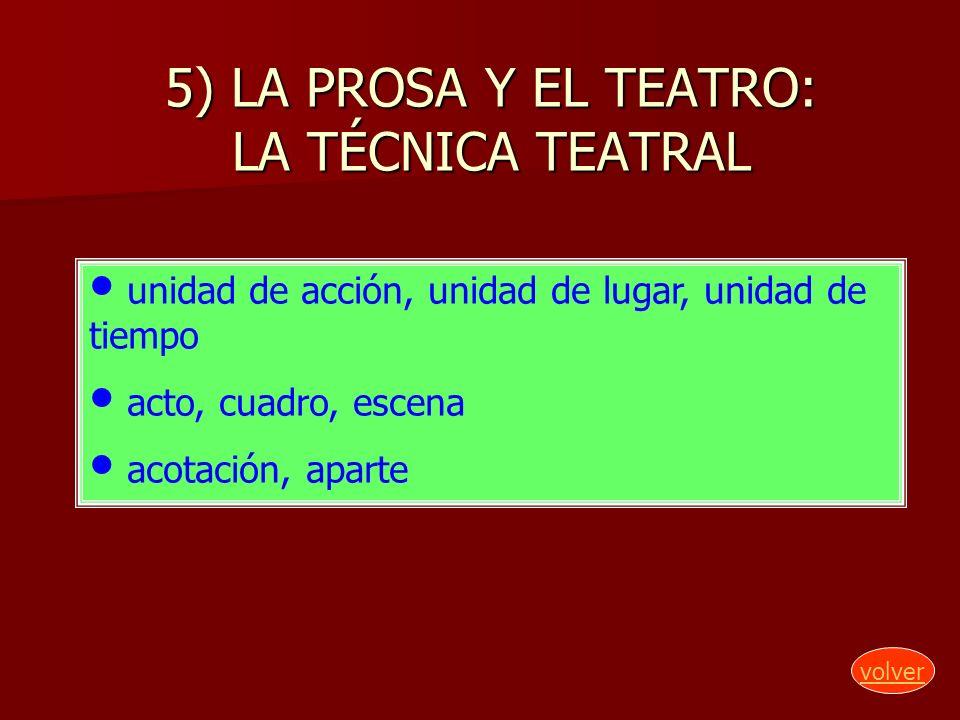 5) LA PROSA Y EL TEATRO: LA TÉCNICA TEATRAL