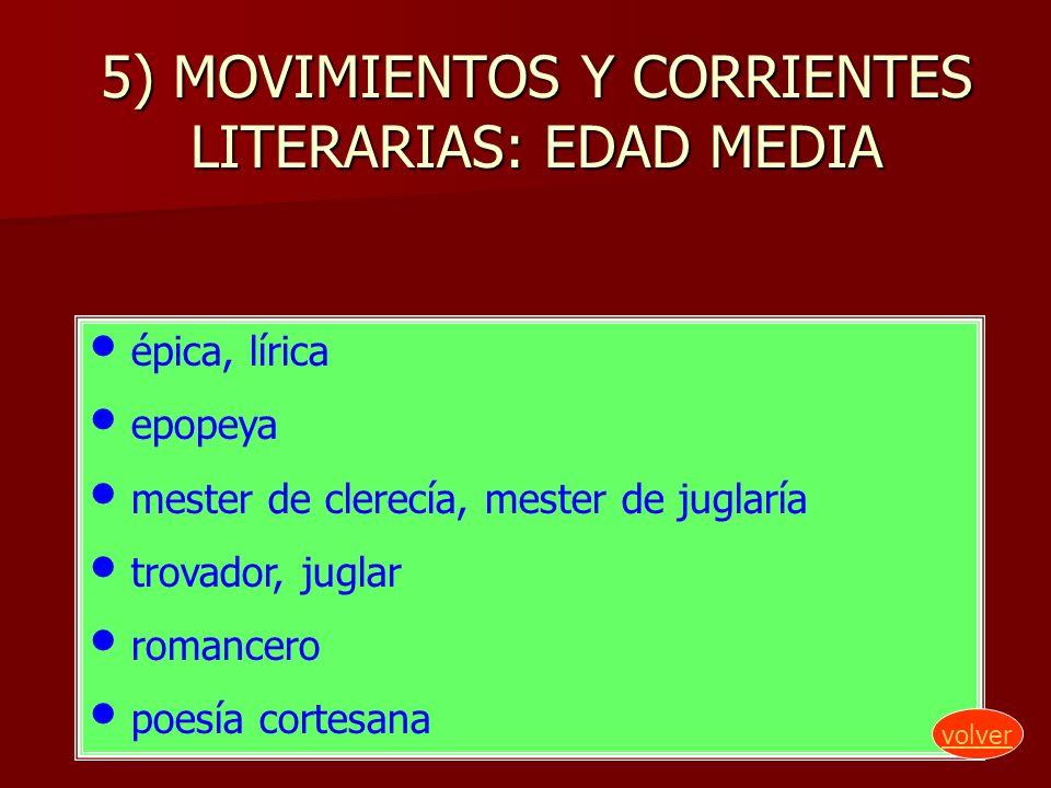 5) MOVIMIENTOS Y CORRIENTES LITERARIAS: EDAD MEDIA