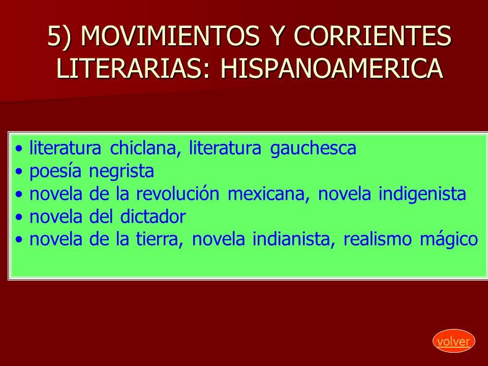 5) MOVIMIENTOS Y CORRIENTES LITERARIAS: HISPANOAMERICA