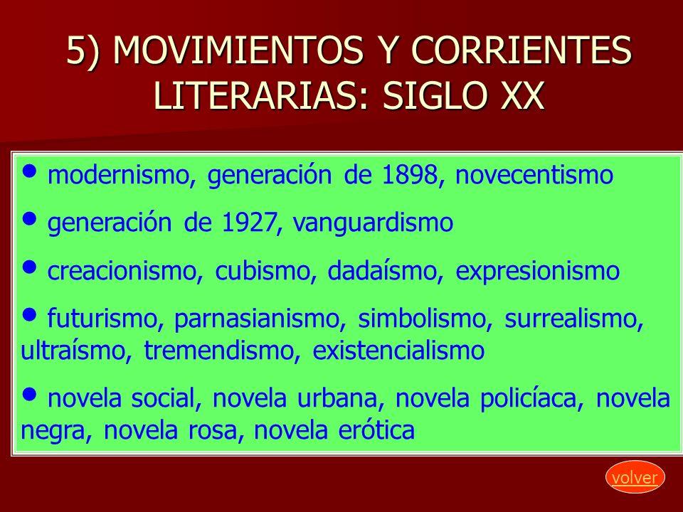 5) MOVIMIENTOS Y CORRIENTES LITERARIAS: SIGLO XX