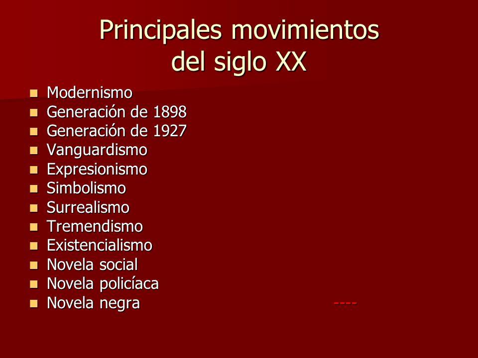Principales movimientos del siglo XX