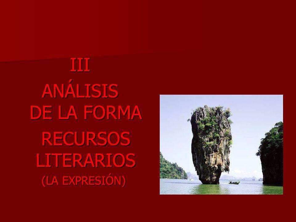 III ANÁLISIS DE LA FORMA RECURSOS LITERARIOS (LA EXPRESIÓN)