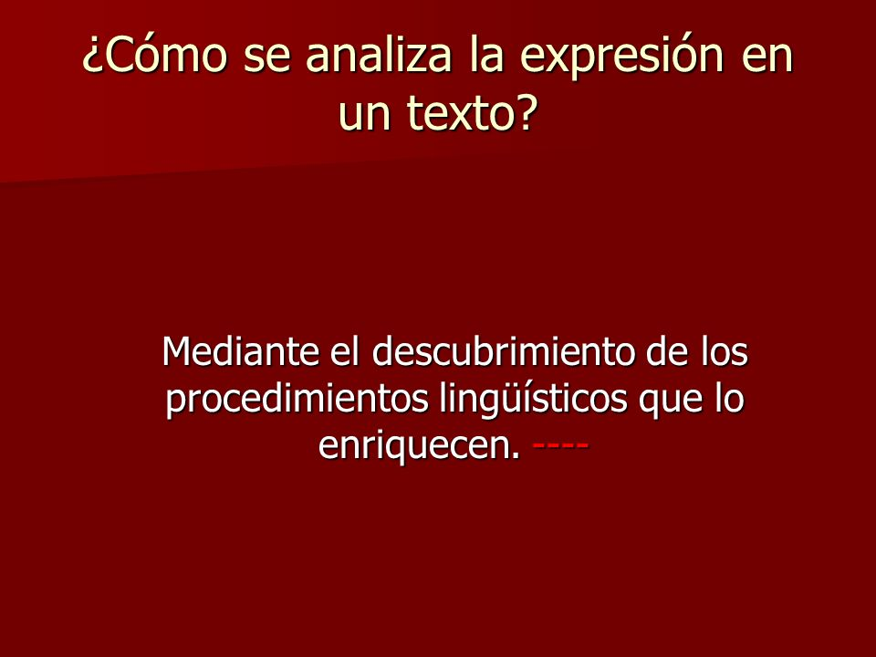 ¿Cómo se analiza la expresión en un texto