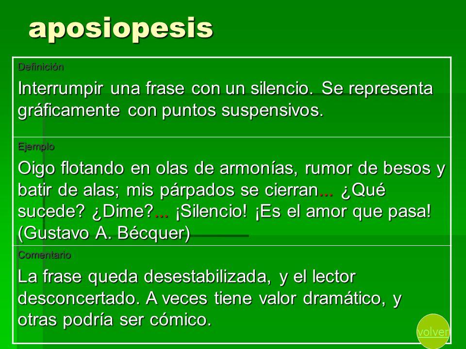 aposiopesis Definición. Interrumpir una frase con un silencio. Se representa gráficamente con puntos suspensivos.