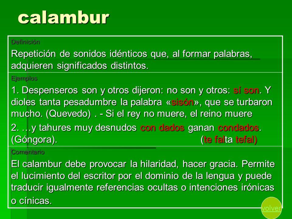 calamburDefinición. Repetición de sonidos idénticos que, al formar palabras, adquieren significados distintos.