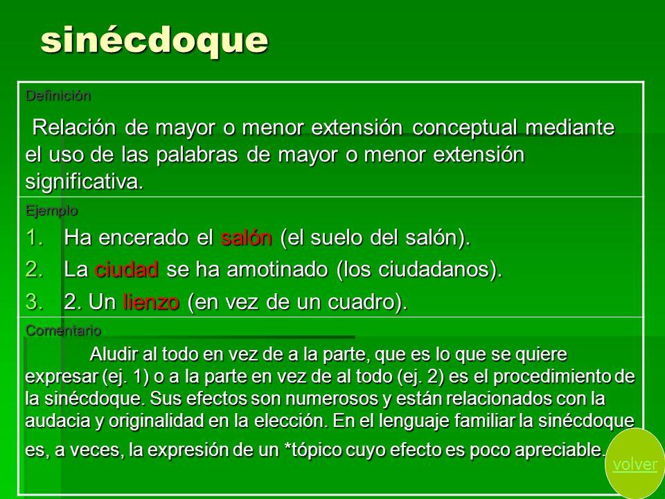 sinécdoqueDefinición. Relación de mayor o menor extensión conceptual mediante el uso de las palabras de mayor o menor extensión significativa.