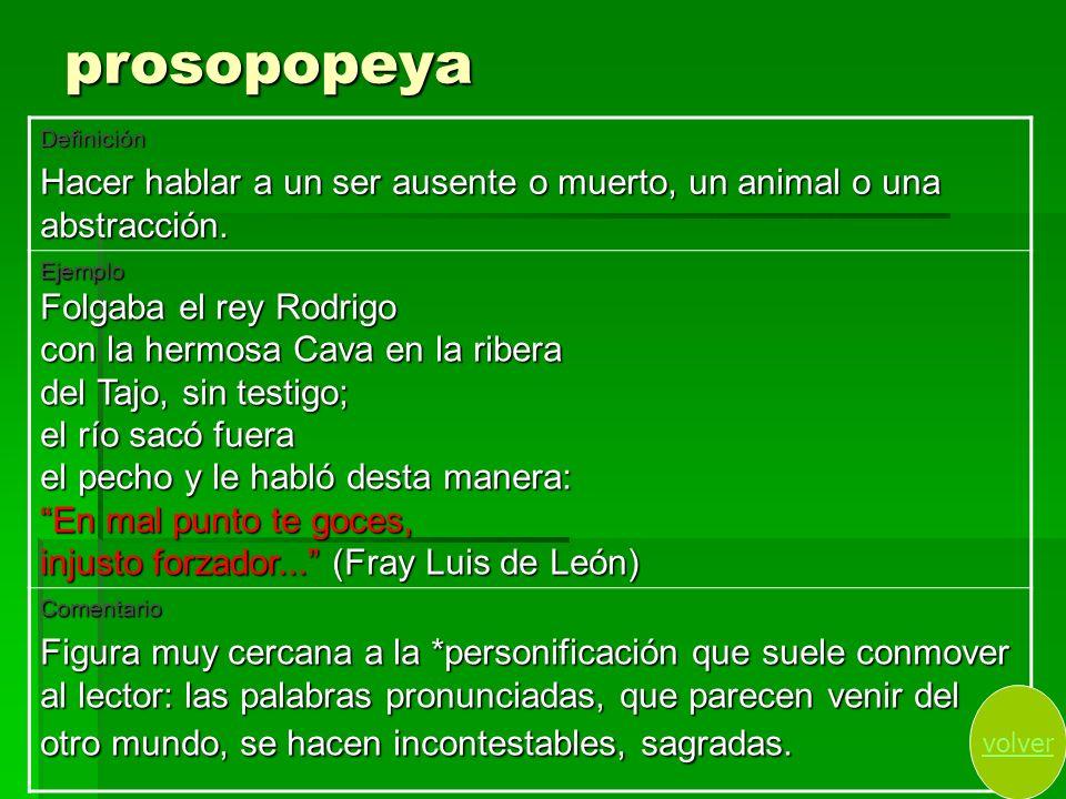 prosopopeya Definición. Hacer hablar a un ser ausente o muerto, un animal o una abstracción. Ejemplo.