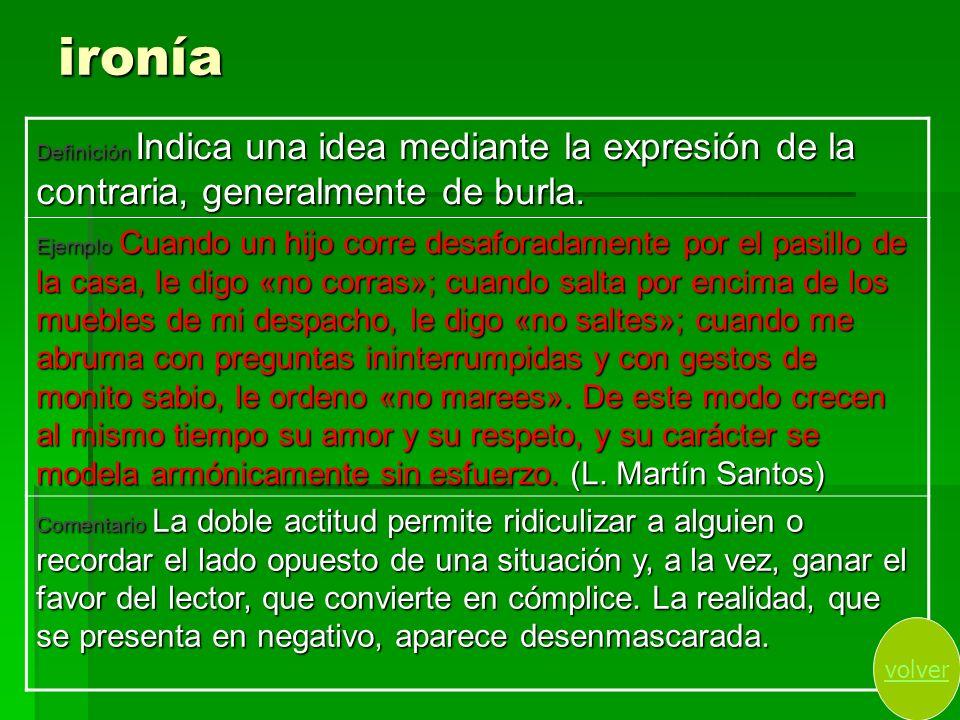 ironíaDefinición Indica una idea mediante la expresión de la contraria, generalmente de burla.