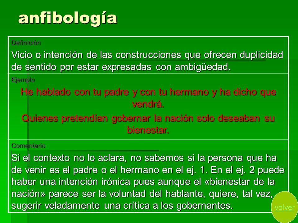 anfibología Definición. Vicio o intención de las construcciones que ofrecen duplicidad de sentido por estar expresadas con ambigüedad.