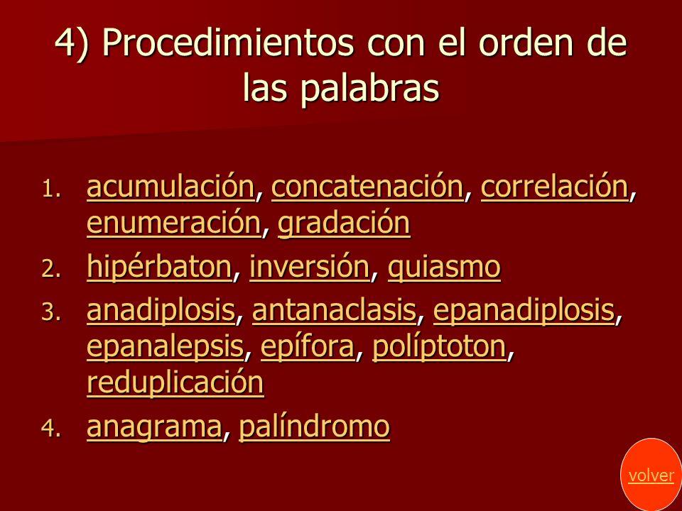 4) Procedimientos con el orden de las palabras