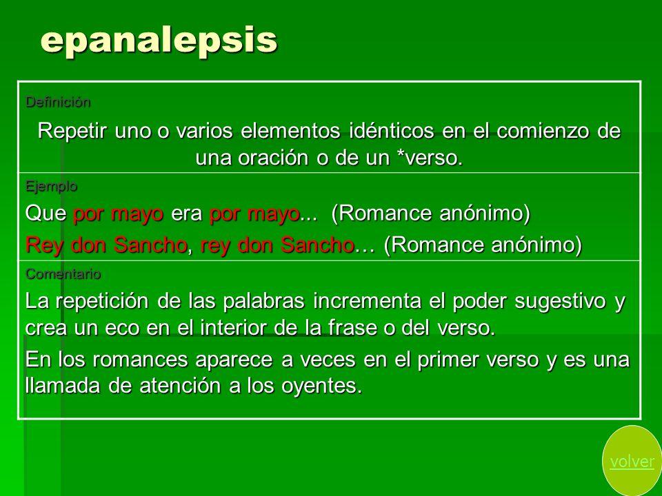 epanalepsisDefinición. Repetir uno o varios elementos idénticos en el comienzo de una oración o de un *verso.
