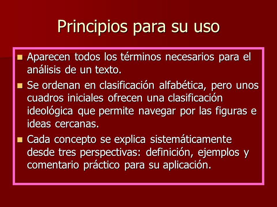 Principios para su usoAparecen todos los términos necesarios para el análisis de un texto.