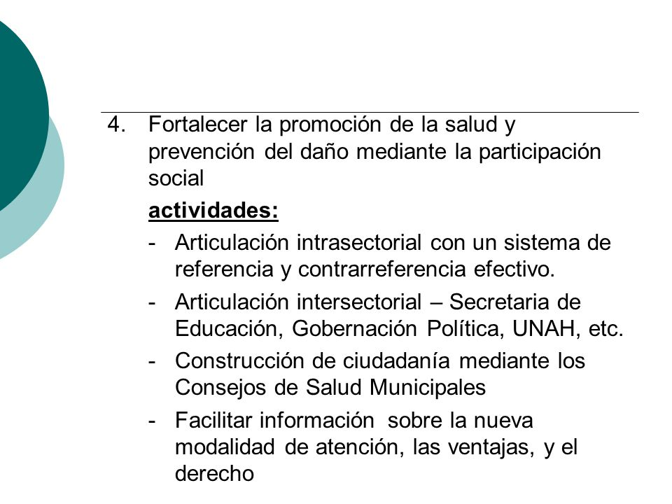 Fortalecer la promoción de la salud y prevención del daño mediante la participación social