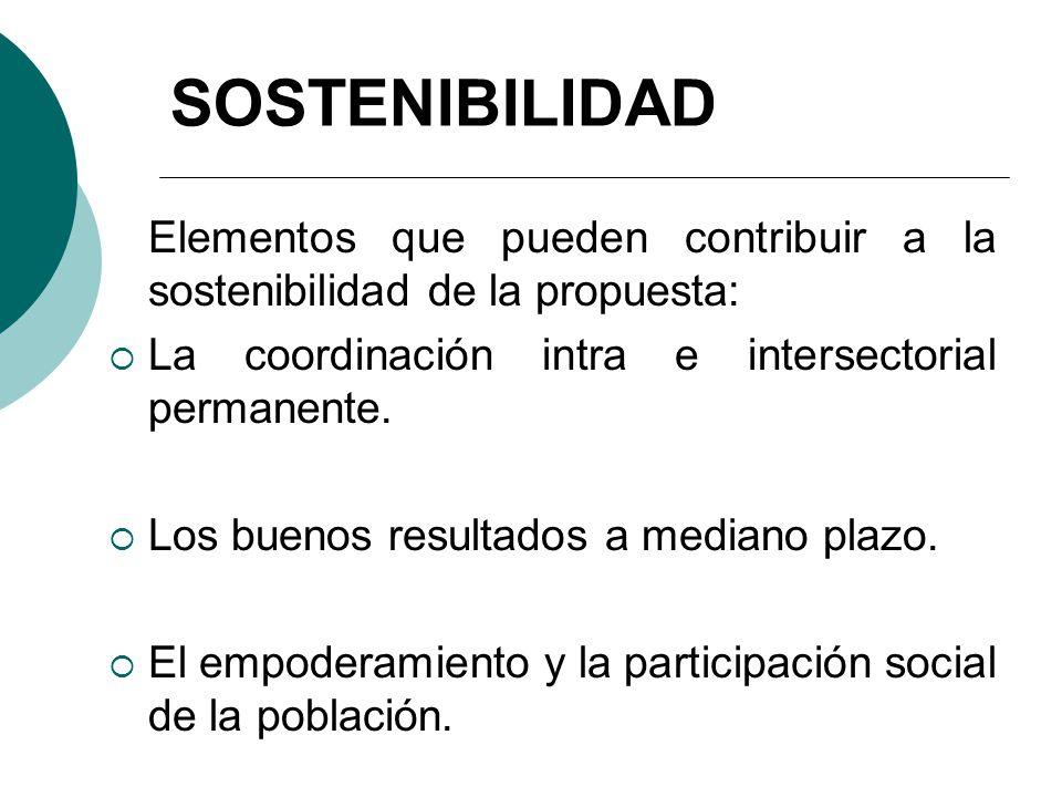 SOSTENIBILIDAD Elementos que pueden contribuir a la sostenibilidad de la propuesta: La coordinación intra e intersectorial permanente.