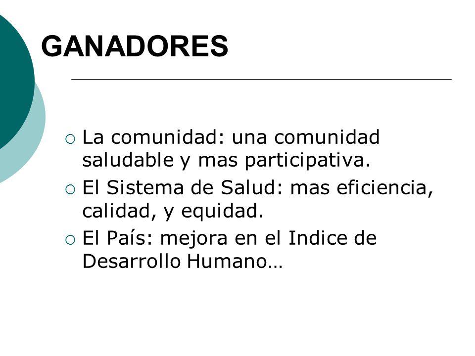 GANADORES La comunidad: una comunidad saludable y mas participativa.