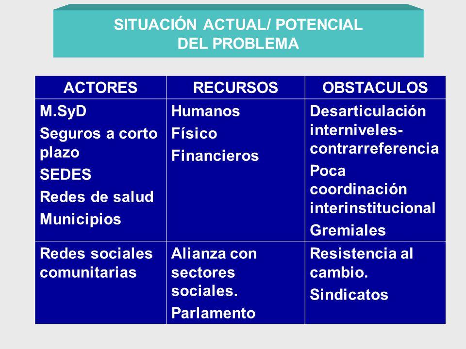 SITUACIÓN ACTUAL/ POTENCIAL DEL PROBLEMA